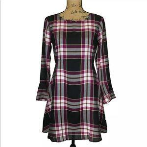 New Ann Taylor Loft Dress 0 P Plaid Back Bow ALine